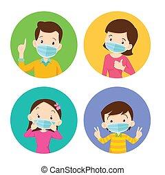 virus., medico, figlio, mask., protettivo, impedire, famiglia, il portare, chirurgico, mamma, figlia, maschera, babbo