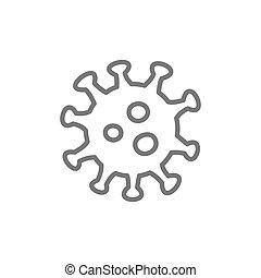 Virus, microbe, bacteria line icon.