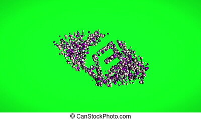 virus, molécules, texte, écran, vert