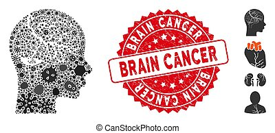 Virus Mosaic Brain Carcinoma Icon with Textured Round Brain Cancer Seal