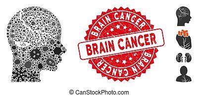Virus Mosaic Brain Carcinoma Icon with Textured Round Brain Cancer Seal