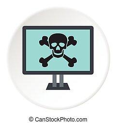 Virus on computer icon, flat style