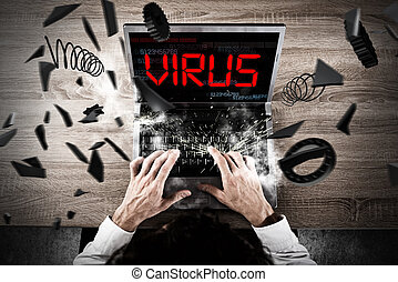 Virus on pc during work - Businessman working at the PC...