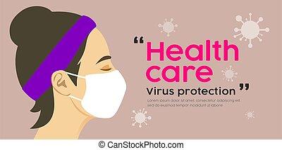 virus, ontwerp, masker, care, vrouw, bescherming, gezondheid