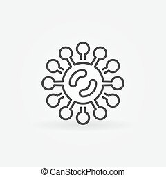 Virus or bacteria vector icon in thin line style
