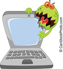 virus, ordinateur portable, dessin animé, attaquer