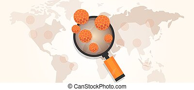 virus outbreak spread pandemic around the world map vector...