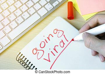 virus, pad., merkzettel, gehen, schreibende, mann