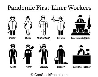 Virus pandemic first-liner workers cliparts.