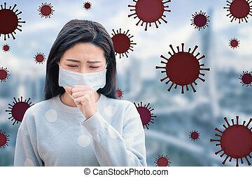 virus, plano de fondo, protección, enfatizado, mujer, gripe...