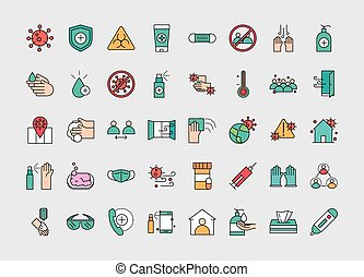 virus protection, contains such icons as protective measures vector illustration line and fill icon