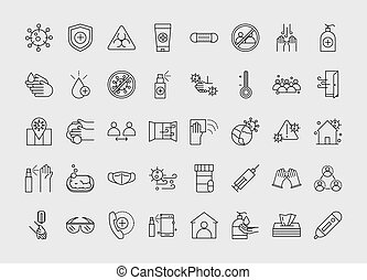 virus protection, contains such icons as protective measures vector illustration line icon