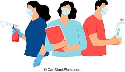 Virus protective measures. Prevent protection infection advices, disinfection and hands washing, health survey and disease detection guidance vector graphic