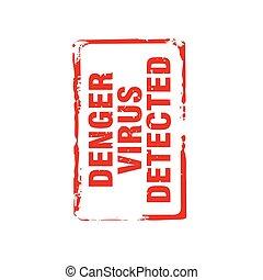 virus, rood, denger, tekst, detected., illustration., vector, postzegel