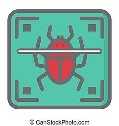 Virus scan colorful line icon, security antivurus