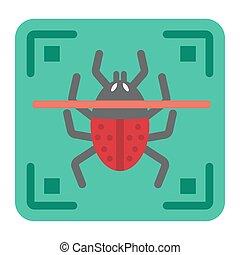 Virus scan flat icon, security and antivurus
