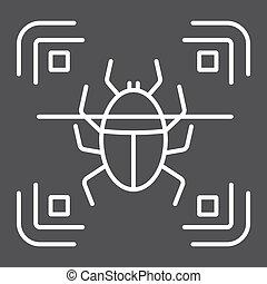 Virus scan line icon, security and antivurus