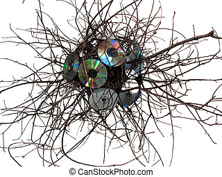 Virus sculpture made from CDs and Oak on a white background.