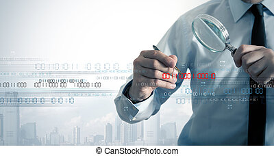 Virus search - Businessman search the virus in a binary code