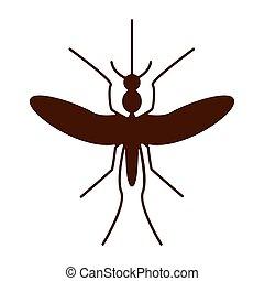 virus., silhouette, moustique, zika, aedes.