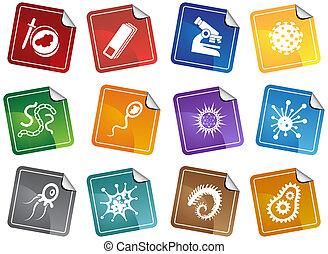 Virus Sticker Set - Group of microscopic virus creatures in...