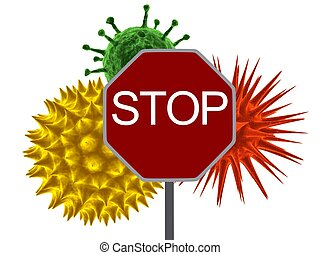 3d rendered illustration of different viruses and a red stop sign