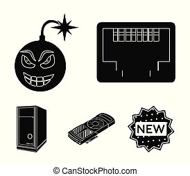 Virus, system unit and other components. Personal computer set collection icons in black style vector symbol stock illustration web.