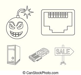 Virus, system unit and other components. Personal computer set collection icons in outline style vector symbol stock illustration web.