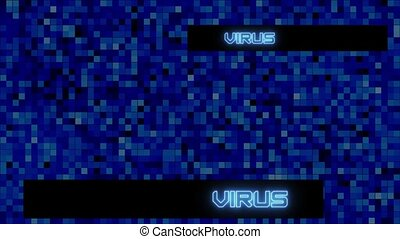 VIRUS text lettering - shown in different positions on blue digital abstract mosaic background with changing colors