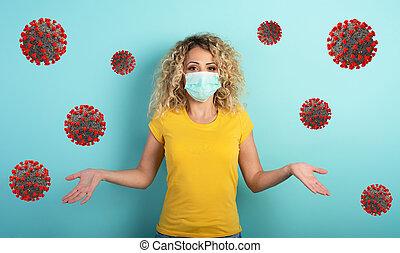 virus., tiene, cian, niña, sobre, duda, plano de fondo, rubio, corona, covid19