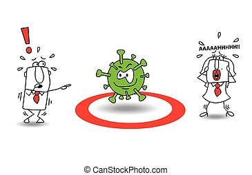 two people are very afraid of the coronavirus . It is a metaphor of the pandemic