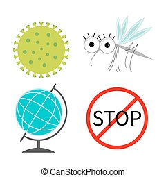 Virus Zika icon set. Mosquito. Stop red sign World globe...