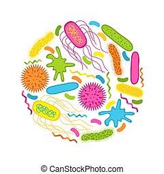viruses, i, bacteria, odizolowany, na białym, tło.