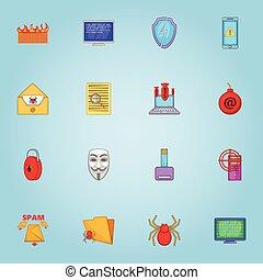Viruses on computer icons set, cartoon style