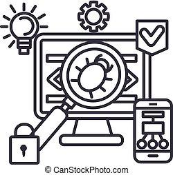 virus,hacker,anti hacking vector line icon, sign, illustration on background, editable strokes