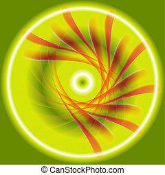 virvla runt, abstrakt, grön, cirkel, röd