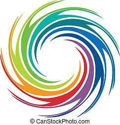 virvla runt, logo, abstrakt, avbild, färgrik