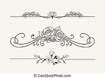 virvlar, avdelare, vektor, svart, blommig, blomningen