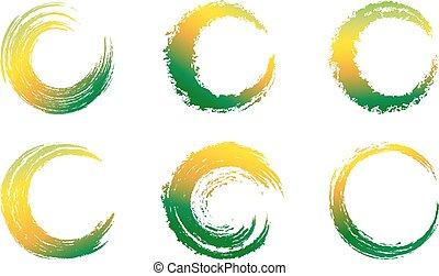 virvlar, grafisk, grön, borsta