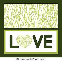 virvlar, kärlek, text, abstrakt, hälsning, struktur, vektor, mall, inbjudan, mönster, ram, kort