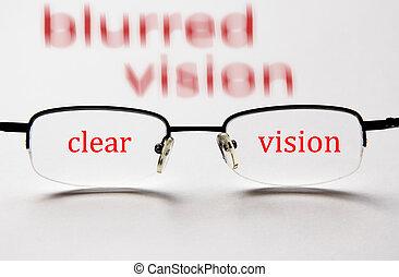 visão borrada, visão clara, com, óculos