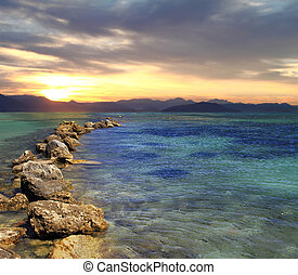 visão cênica, de, bonito, amanhecer, acima, a, mar