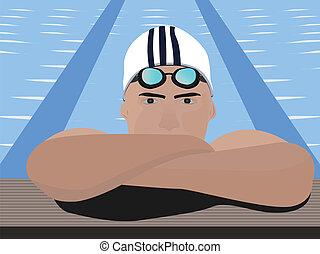 visão close-up, de, um, nadador