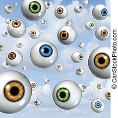 visão, e, olho, bola, fundo