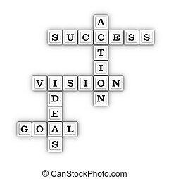 visão, negócio, sucesso, ação, meta, puzzle., crossword, idéia, planificação, concept.