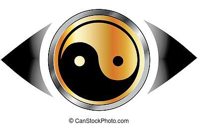 visão, olho, logotipo, com, harmonia, símbolo