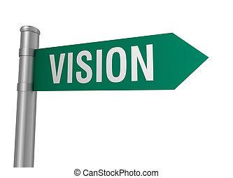 visão, sinal, estrada, ilustração, 3d