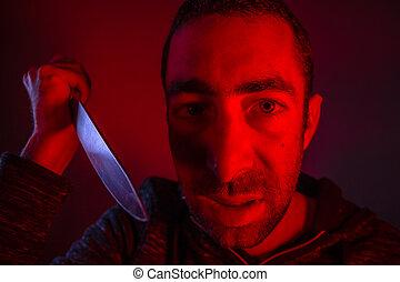 visító, lengés, agresszív, hangosan, kés, ember