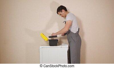 vis, cassé, machine à laver, torsions, réparateur, mur