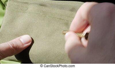 vis, durability., vérifié, tissu, traces., main, congé, vert...